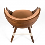 "Walnut and Leather ""Zun"" Dining or Conference Chair by Lop Furniture, Birdseye view"