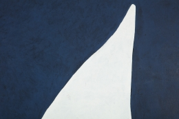 "Adja Yunkers 1900-1983 ""White on Smoke Blue"" Acrylic on Canvas, Close Up 4"
