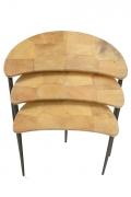 Aldo Tura Goatskin Crescent Nesting Tables, Birds Eye View