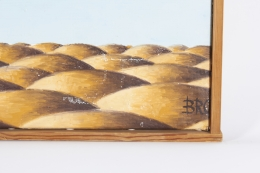 """Surrealist Painting """"Party on Rubber Beach"""" by George Broe, Close Up of Signature"""