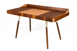 "Walnut and Leather ""Missboss Desk"" by Oluf Lund for Lop"