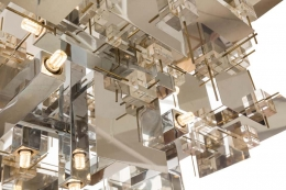 Gaetano Sciolari Chrome Panel and Lucite Cube Geometric Chandelier