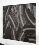 "Abstract Black and White ""Trowel"" Painting by Duayne Hatchett"