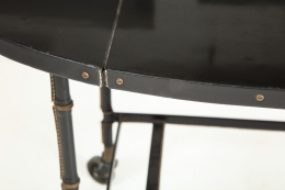 Jacques Adnet Leather Wrapped Drop-Leaf Serving Table on Casters, Close Up View of Corner