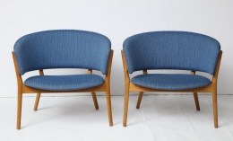 Nanna Ditzel ND83 Lounge Chairs Upholstered in Blue Fabric, 3