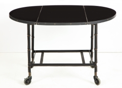 Jacques Adnet Leather Wrapped Drop-Leaf Serving Table on Casters