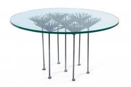 Brutalist Silver Gilt Floral Table with Glass Top by Lost City Arts