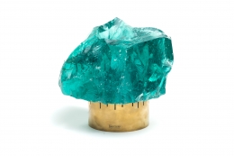 Chiseled Green Crystal Table Lamp in the Manner of Max Ingrand