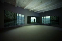 Isaac Julien, Western Union: Small Boats, 2007, three-channel projection, 35mm film (color, sound), 18:22 min.