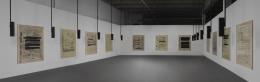 Susan Philipsz, Part File Score, 2014, twenty-four-channel sound installation and twelve digital and silkscreen prints on canvas, 36:30 min.