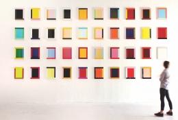 Imi Knoebel,Anima Mundi, 2014-2016, thirty-nine works, acrylic on synthetic paper, each 18 x 14