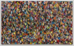 """Brenna Youngblood, """"Democratic Dollar"""", 2015, acrylic and spray-paint on canvas, 72 inches by 120 inches"""