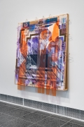 Tomashi Jackson Love Rollercoaster (2016 Butler County Line) (1965 John Lewis Accepts Voting Rights Act Signing Pen from LBJ) [side view], 2020 Acrylic, Pentelic marble, Ohio Underground Railroad site soil, American electoral ephemera, and paper bags on canvas and fabric 88 1/8 x 81 x 8 inches