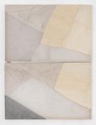 Martha Tuttle Couplet on transcending limitations, 2019 Wool, linen, graphite, pigment, and quartz 61 1/2 x 46 inches
