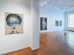 """This image is an installation view of the February James exhibition titled """"When the Chickens Come Home To Roost."""" The paintings, watercolors and sculptures by February James are installed and on view at Tilton Gallery."""