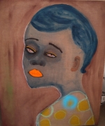 """February James, """"I can't be your Betty Blue"""", 2020, oil on linen, 40 inches by 32 inches."""