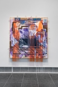 """Tomashi Jackson, """"Love Rollercoaster (2016 Butler County Line) (1965 John Lewis Accepts Voting Rights Act Signing Pen from LBJ)"""", 2020, Acrylic, Pentelic marble, Ohio Underground Railroad site soil, American electoral ephemera, and paper bags on canvas and fabric, 88 1/8 x 81 x 8 inches"""