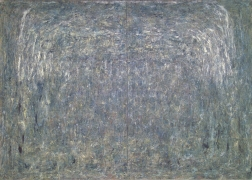"""Rebecca Purdum, """"Auspices (Diptych)"""", 2005, oil on canvas, 60 by 95 inches (152 x 241 centimeters)."""
