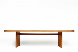 """Pierre Chapo's """"T20B"""" dining table straight eye-level view"""