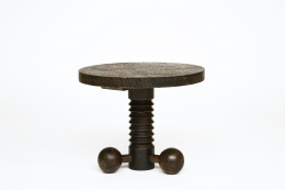 Charles Dudouyt's pedestal table, back straight view