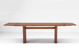 """Pierre Chapo """"T14C"""" dining table straight view with """"D08"""" extensions"""