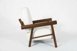 Attributed to Charlotte Perriand, pair of armchairs, single chair side view