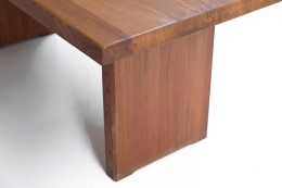 """Pierre Chapo """"T14C"""" dining table detailed view of the leg"""