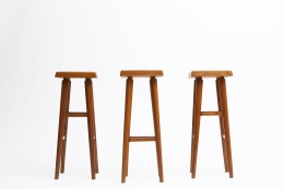"""Pierre Chapo's set of three """"S01C"""" stools, full view of 3 stools from below"""