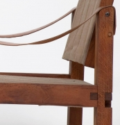 Pierre Chapo's pair of armchairs detailed view of seat joinery and leather armrest