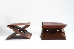 Hervé Baley's pair of two stools front and side view