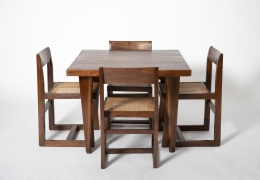 Pierre Jeanneret's square table shown with set of 4 Jeanneret chairs
