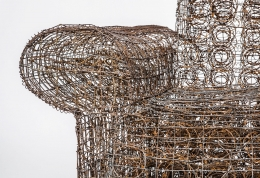 """Forrest Myers' """"Untitled"""" wire couch, detailed view of arm"""