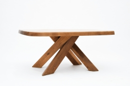 "Pierre Chapo's ""T35C"" dining table eye-level diagonal view"