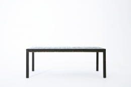 French 1960's blue ceramic coffee table straight eye-level view