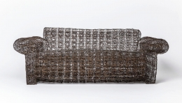 """Forrest Myers' """"Untitled"""" wire couch, full straight view"""