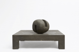 """Pierre Székely's """"Espace établi"""" sculpture, full straight view with ball turned diagonally"""