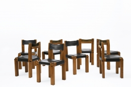 "Pierre Chapo's Set of eight ""S11E"" chairs full view of all chairs"