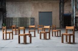 """Pierre Chapo set of six """"S11B"""" chairs installation view of all chairs in warehouse"""