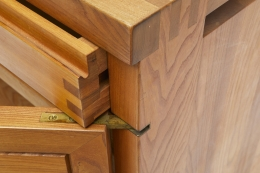 "Pierre Chapo's ""R08"" sideboard detail view of drawer and door joinery"