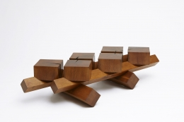 Dominique Zimbacca's coffee table, full diagonal view