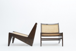 Pierre Jeanneret's pair of kangourou chairs side and front view