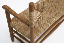 Charlotte Perriand's bench, detailed view of rattan and oak