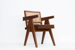 Pierre Jeanneret's Desk chair diagonal back front view