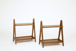 Unknown artist's pair of racks, front diagonal views from above
