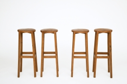 Unknown Artist's set of 4 stools, straight front views