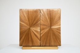 Unknown artist's marquetry mirror, front straight view, mirror closed