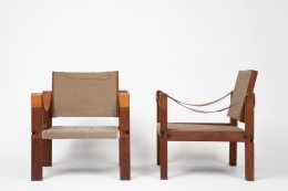 Pierre Chapo's pair of armchairs front and side view