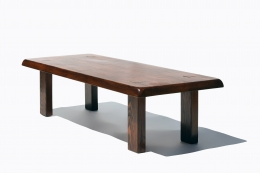 """Pierre Chapo's """"T08"""" coffee table (special commission), full diagonal view"""