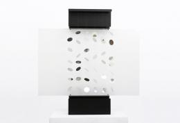 "Julio Le Parc's ""Continuel Lumière mobile n.23"" Kinetic sculpture, full straight view"