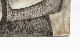 Roger Desserprit's wall sculpture detailed image of signature